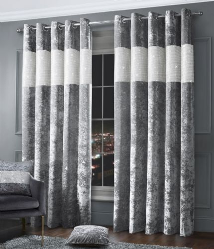 Stylish Diamante Crushed Velvet Modern Textured Ringtop Eyelet Pair Of Curtains Silver Colour
